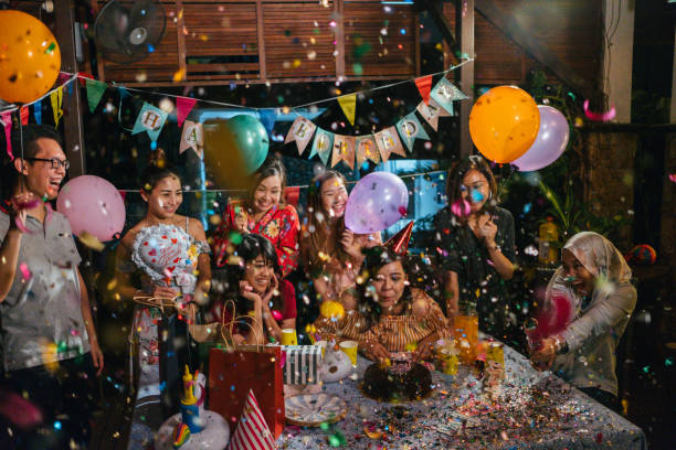 Group of Friends Celebrating Birthday Together Party Celebration happy birthday stock pictures, royalty-free photos & images