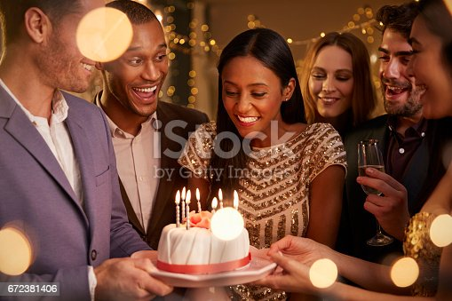 istock Group Of Friends Celebrating Birthday With Party At Home 672381406