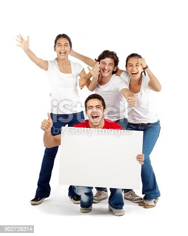 istock Group of friends cheering holding blank board 502726314