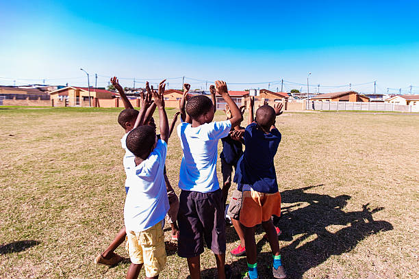Group of friends cheering up, Gugulethu, Cape Town, South Africa foto