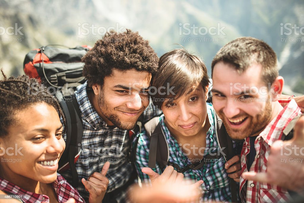 group of friends doing a selfie royalty-free stock photo