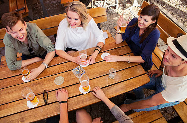 Group of Friends Drinking Beer stock photo
