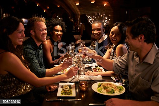 istock Group Of Friends Enjoying Meal In Restaurant 508292540
