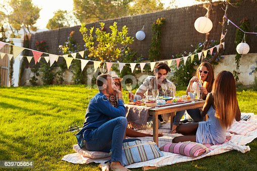 istock Group Of Friends Enjoying Outdoor Picnic In Garden 639705654