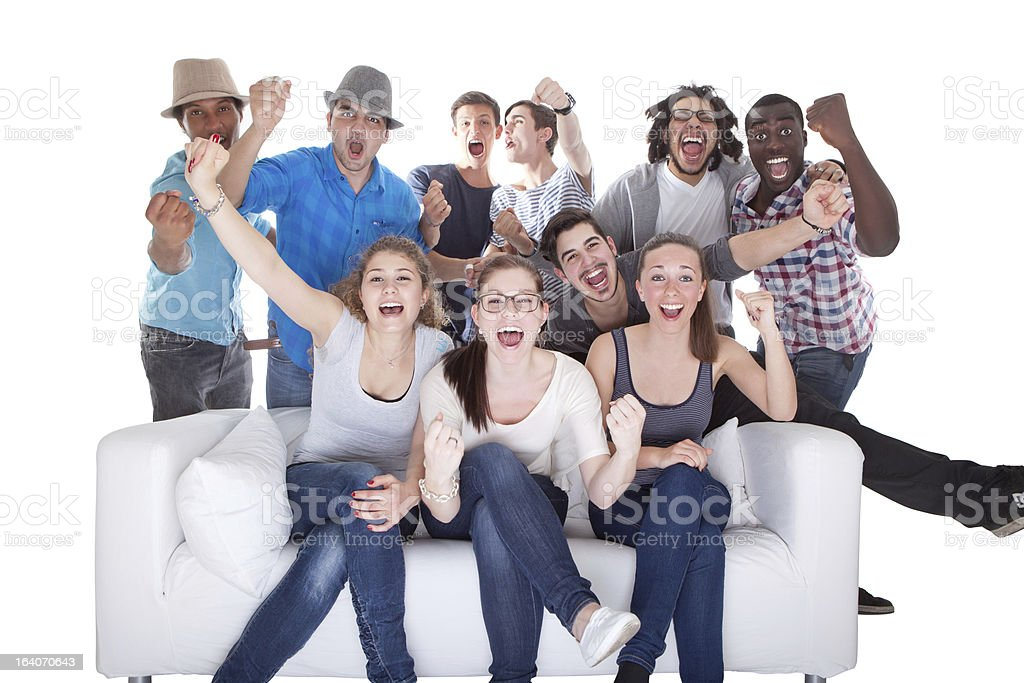Group Of Friends Enjoying Watching Television royalty-free stock photo