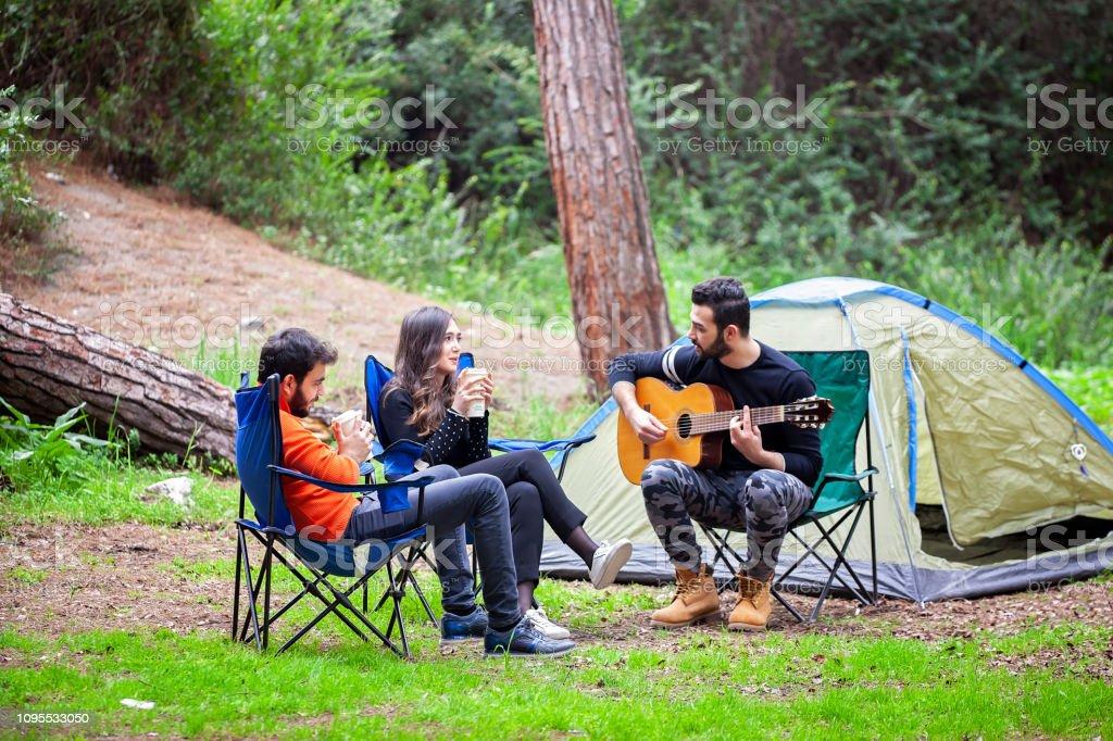 Müzik doğa ile zevk arkadaş grubu. stok fotoğrafı