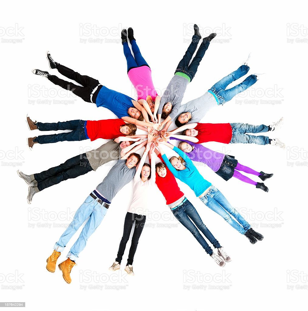 Group of friends formind circle against white background royalty-free stock photo