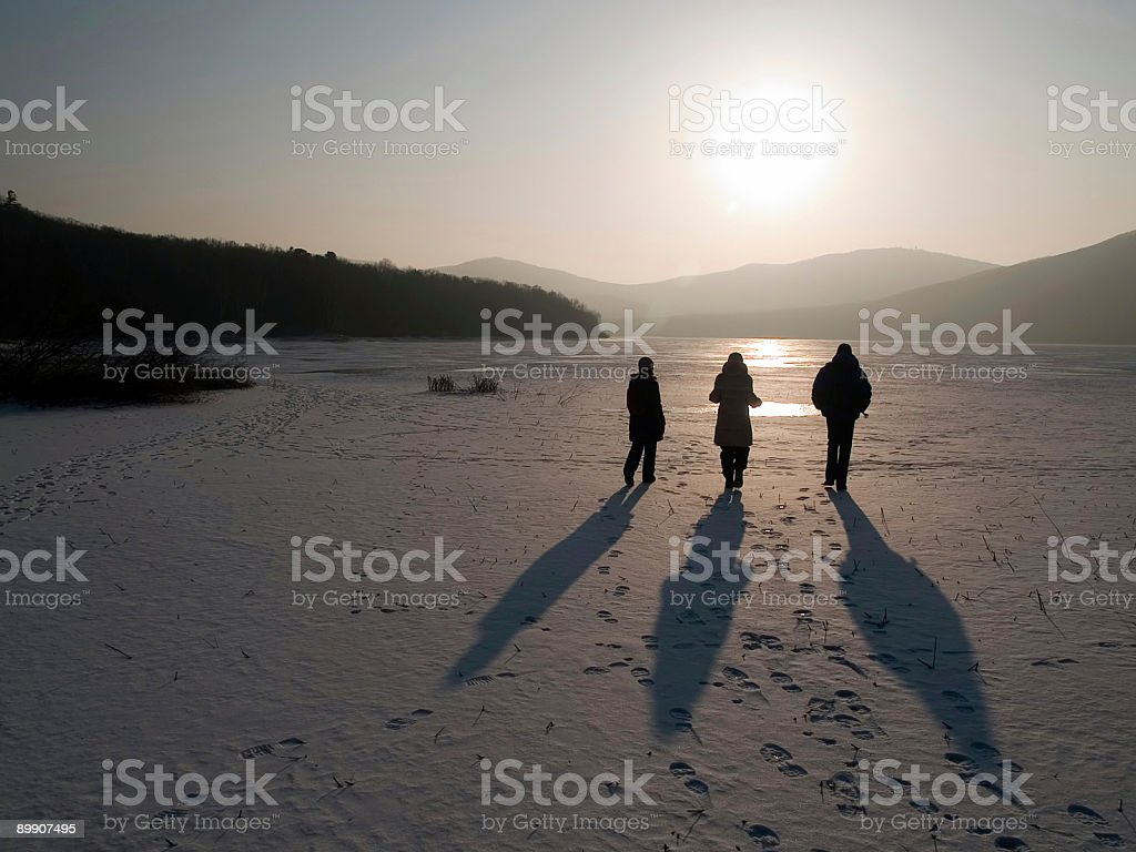 group of friends going ahead to the sun royalty-free stock photo