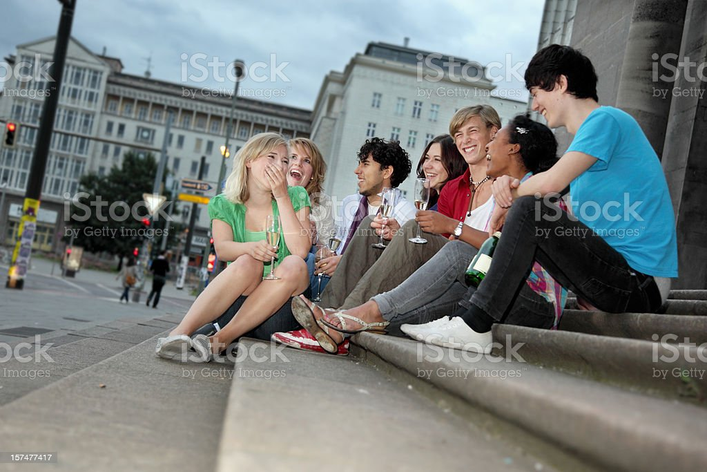 Group of friends hanging out royalty-free stock photo