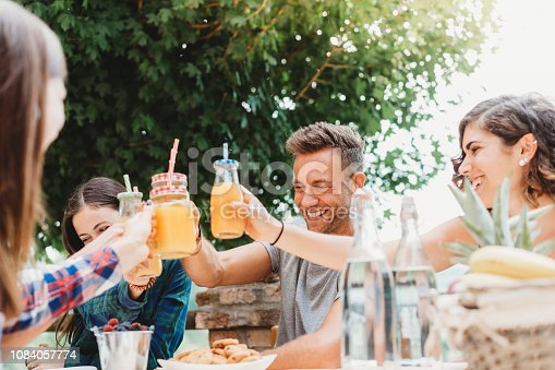 Group of friends having a break in the countryside together drinking juices