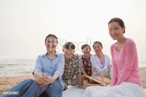 453383283 istock photo Group of Friends Having a Picnic by the Sea 453254887
