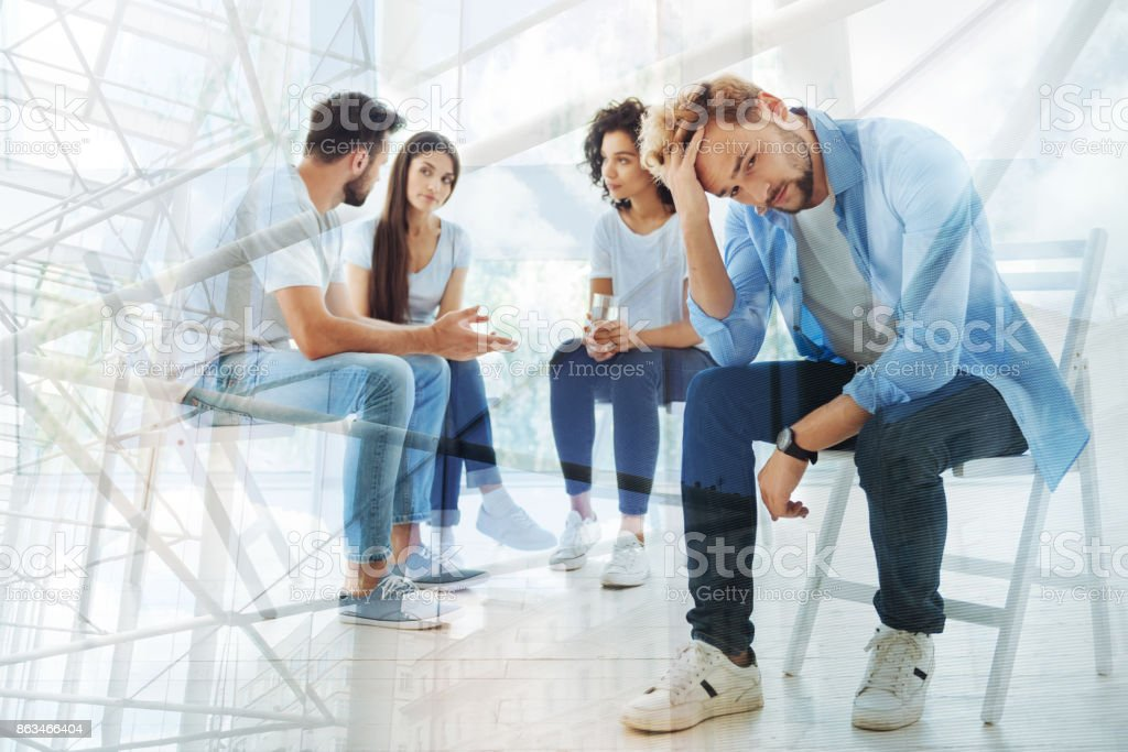 Discussing problems. Group of best friends talking with psychologist...