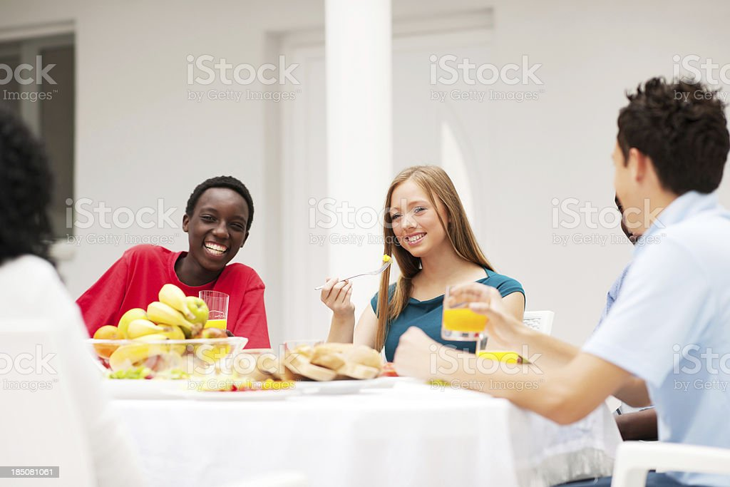 Group of friends having dinner together. royalty-free stock photo