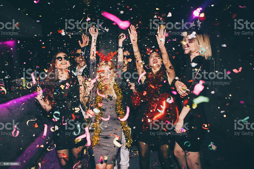 Group of friends having fun in the club royalty-free stock photo