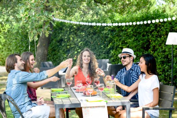 gruppe von freunden spaß picknick-mittagessen-party im freien im garten während der sommerferien urlaub - genießen französisch stock-fotos und bilder