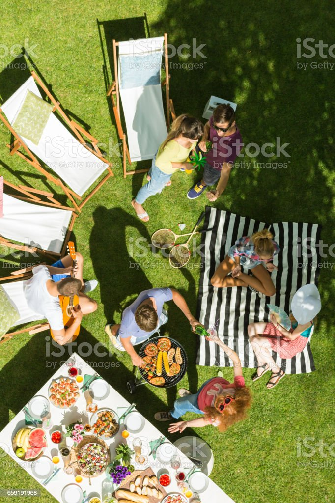 Group of friends having picnic stock photo