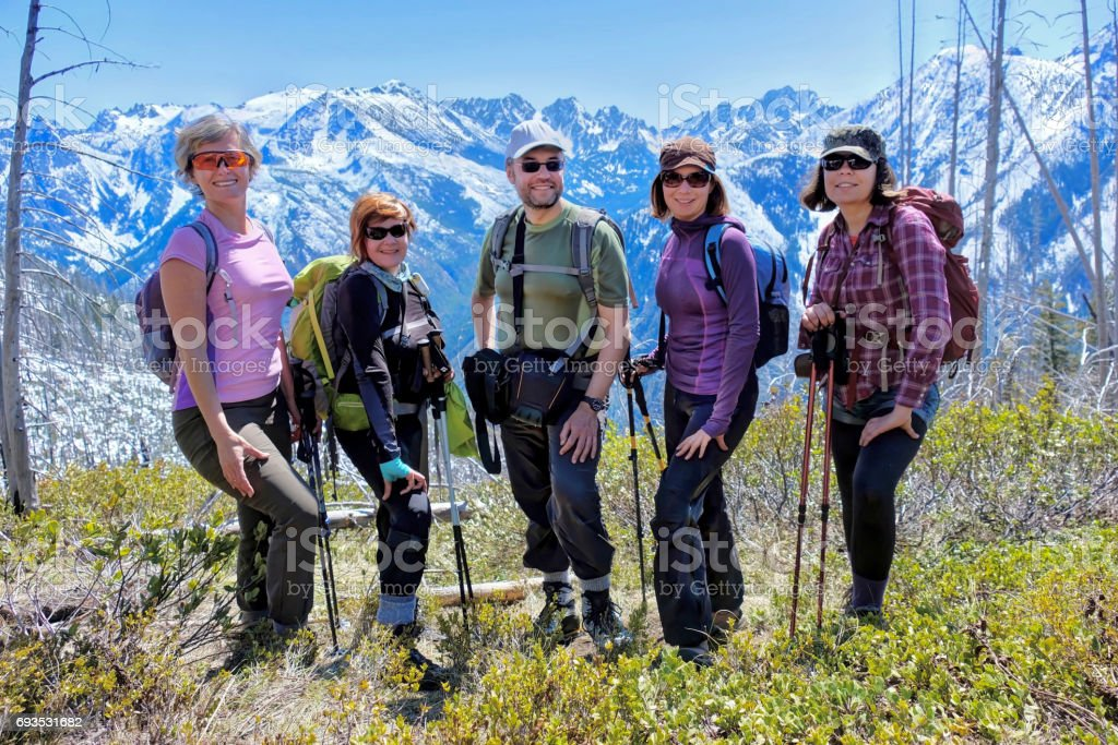 Group of friends hiking in mountains. stock photo