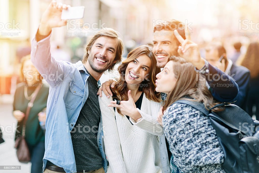Group of friends making a selfie stock photo