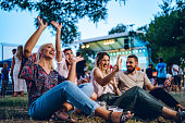 istock Group of friends on a music festival 1182385910