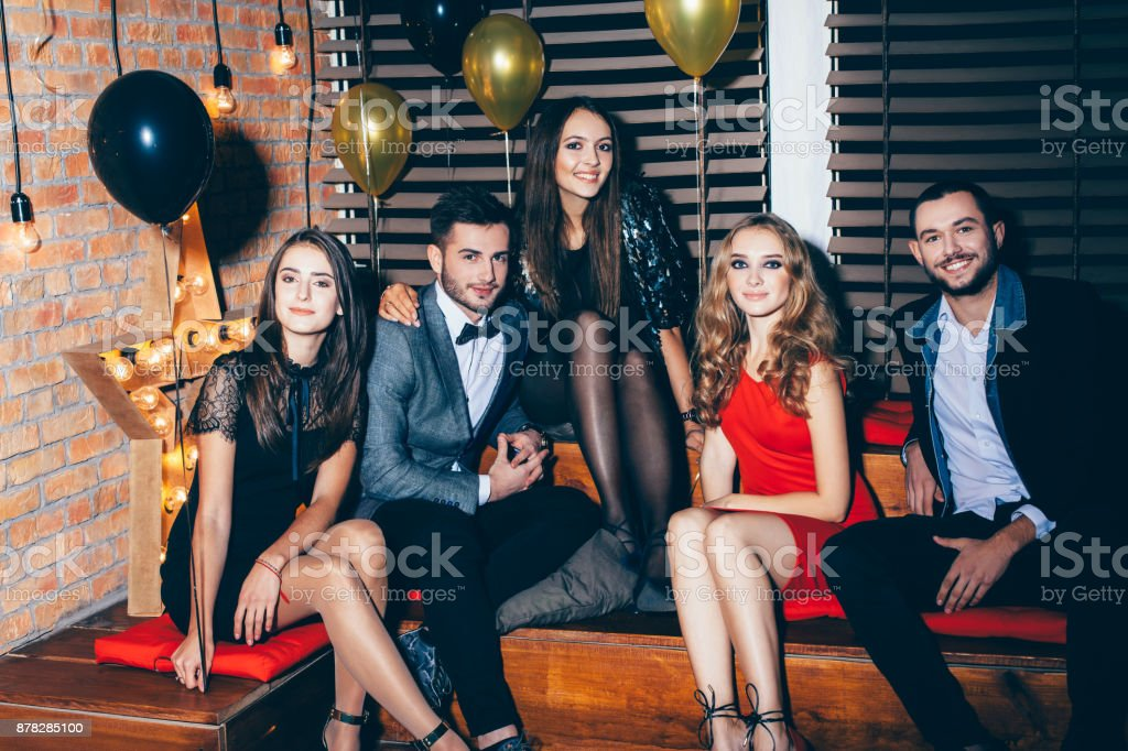 Group of friends on party event stock photo