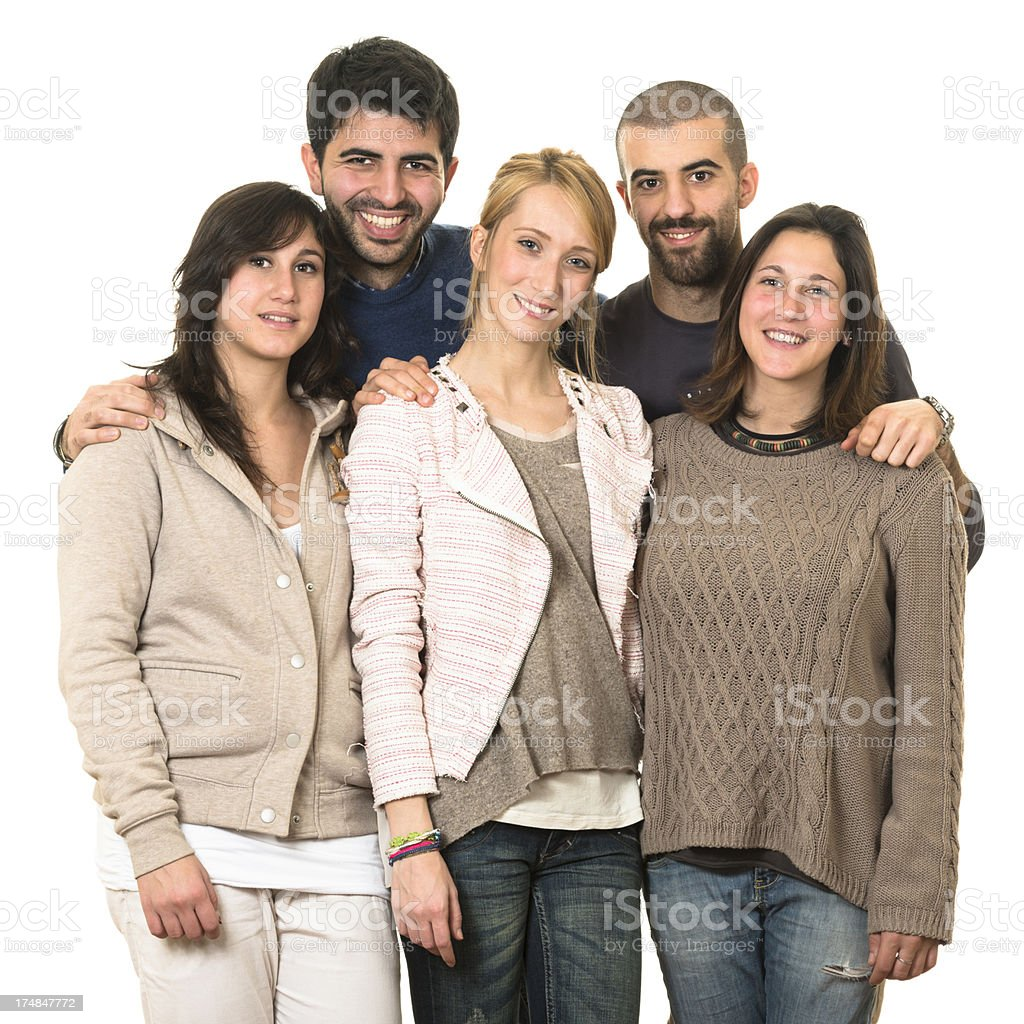Group of friends on white background royalty-free stock photo