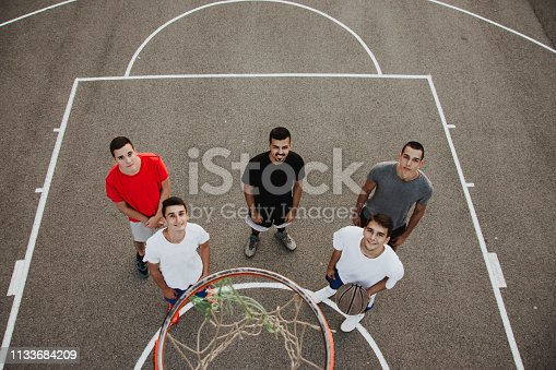 istock Group of friends playing basketball 1133684209