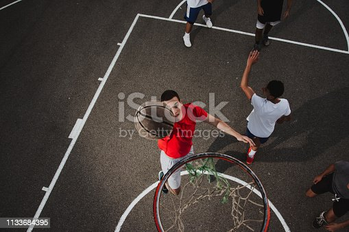 istock Group of friends playing basketball 1133684395