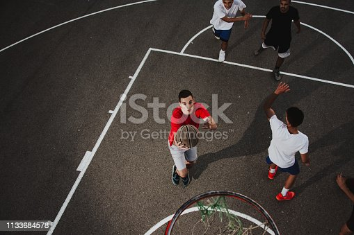 istock Group of friends playing basketball 1133684578