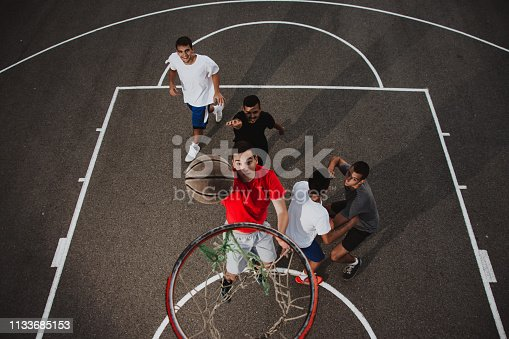 istock Group of friends playing basketball 1133685153