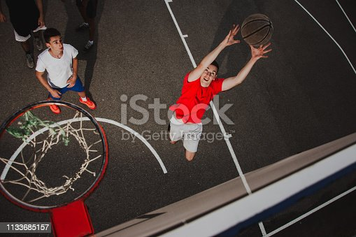 istock Group of friends playing basketball 1133685157