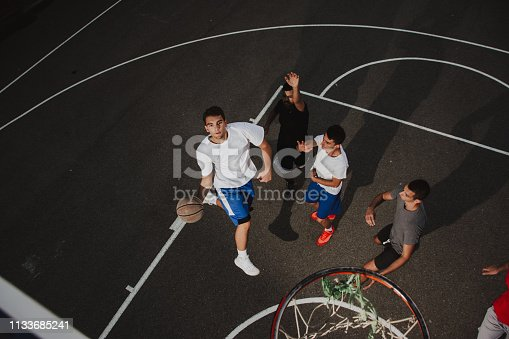 istock Group of friends playing basketball 1133685241