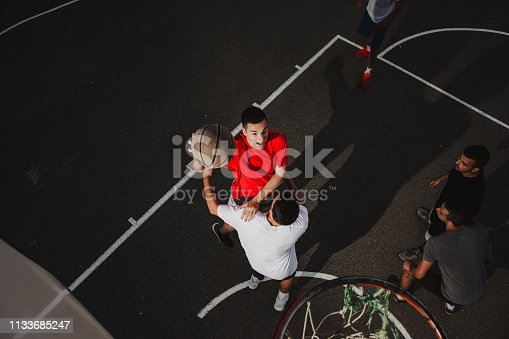 istock Group of friends playing basketball 1133685247