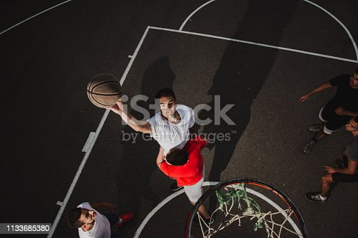 istock Group of friends playing basketball 1133685380