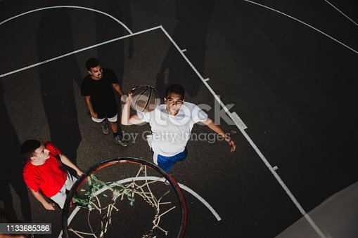 istock Group of friends playing basketball 1133685386