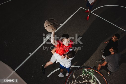 istock Group of friends playing basketball 1133685519