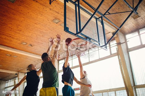 istock Group of friends playing basketball 641256178