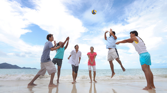 Group Of Friends Playing Volleyball On The Beach Stock ...
