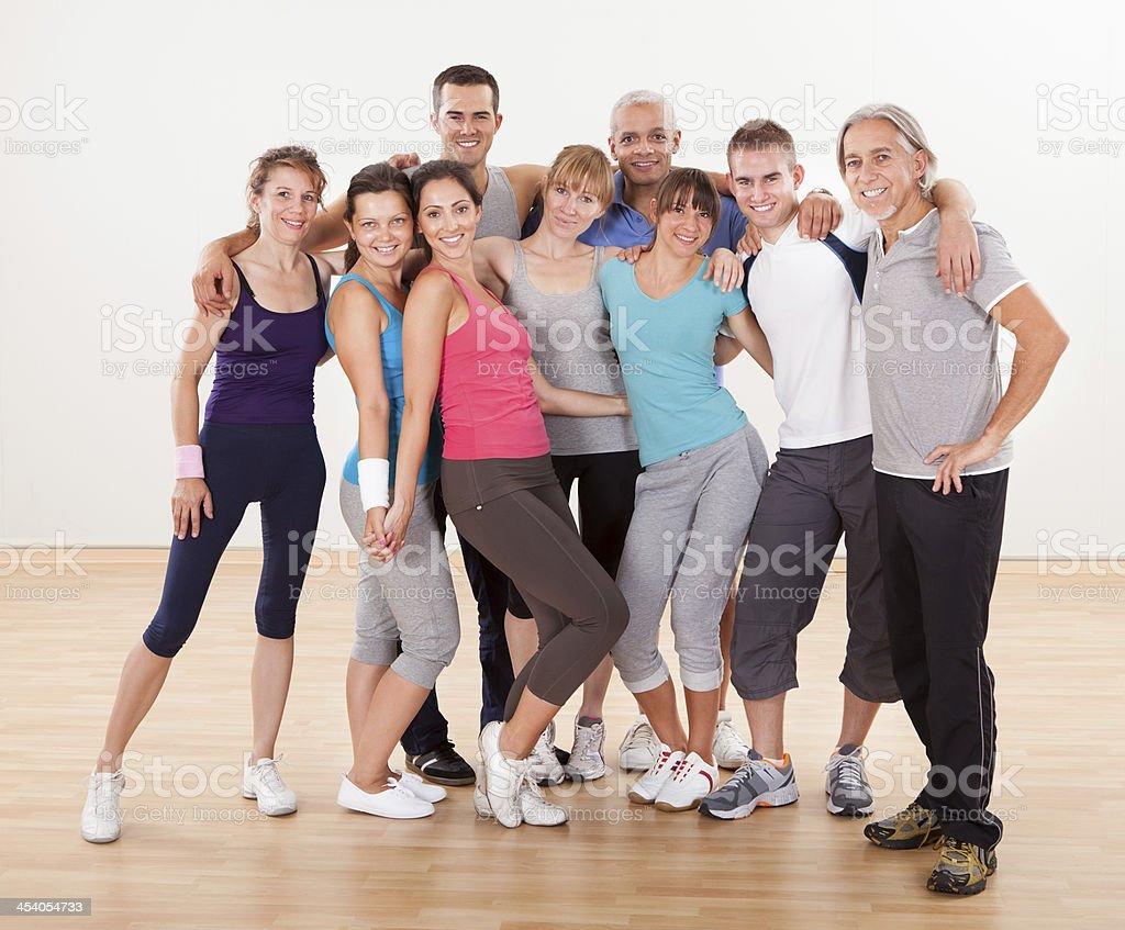 Group of friends posing at the gym royalty-free stock photo
