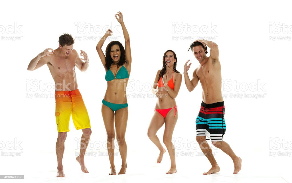 Group of friends rain dancing stock photo