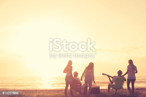 Group of friends relaxing at the beach. Sunset light and they are drinking beer. There is also a guitar being played. Men and women in the shot. Could be spring break. Copy space