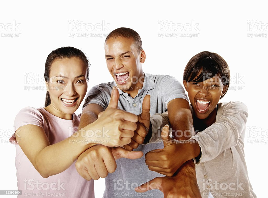 Group of friends shoowing success sign royalty-free stock photo