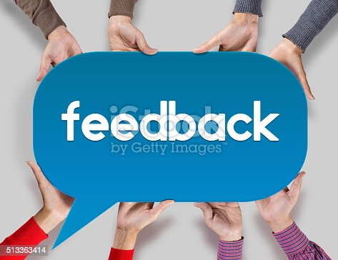 istock Group of friends showing feedback on speech bubble 513363414