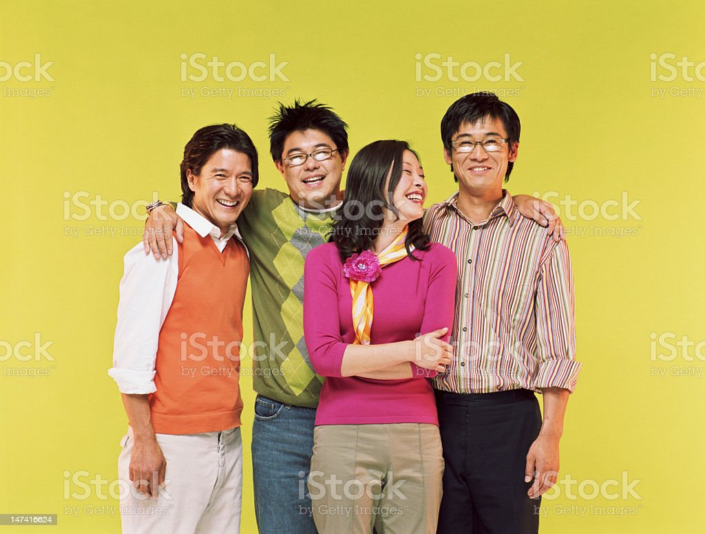 Group of friends smiling, portrait stock photo