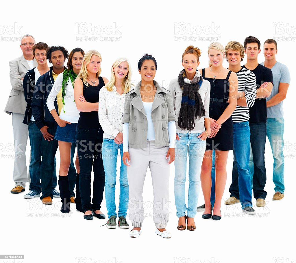 Group of friends standing against white background royalty-free stock photo