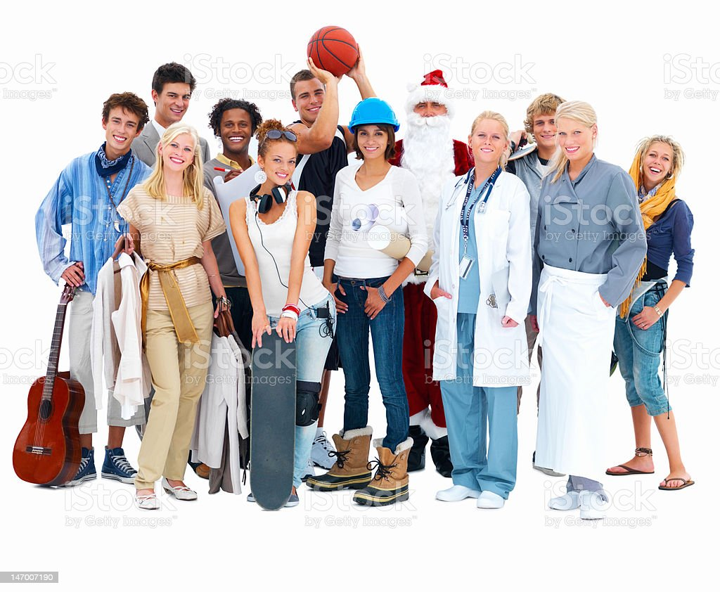 Group of friends standing against white background with Santa Claus royalty-free stock photo