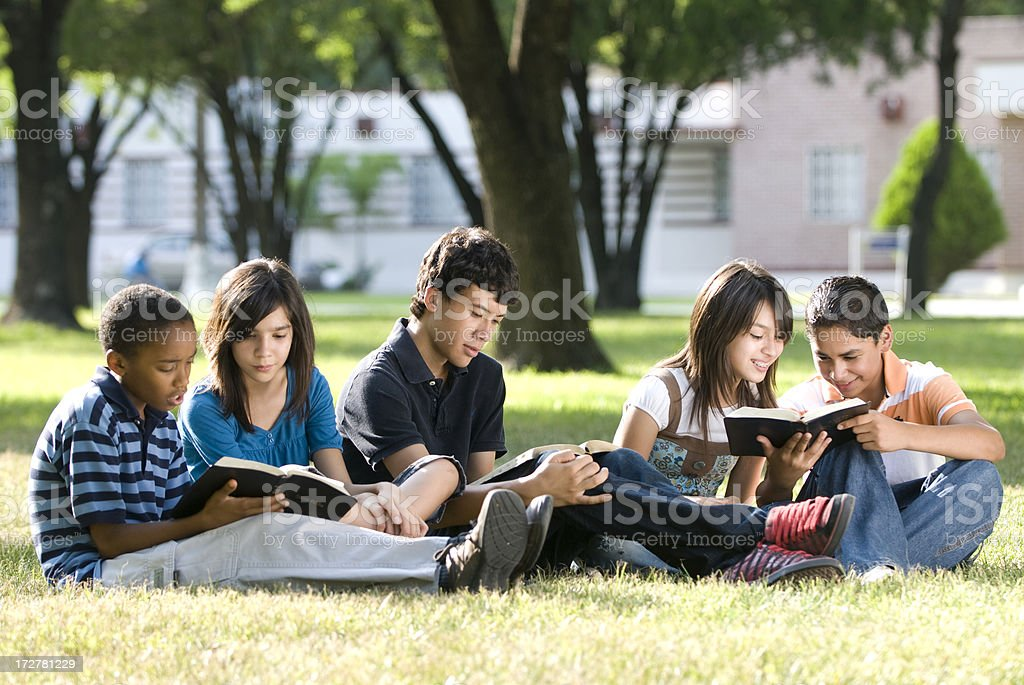 Group of friends studying together royalty-free stock photo