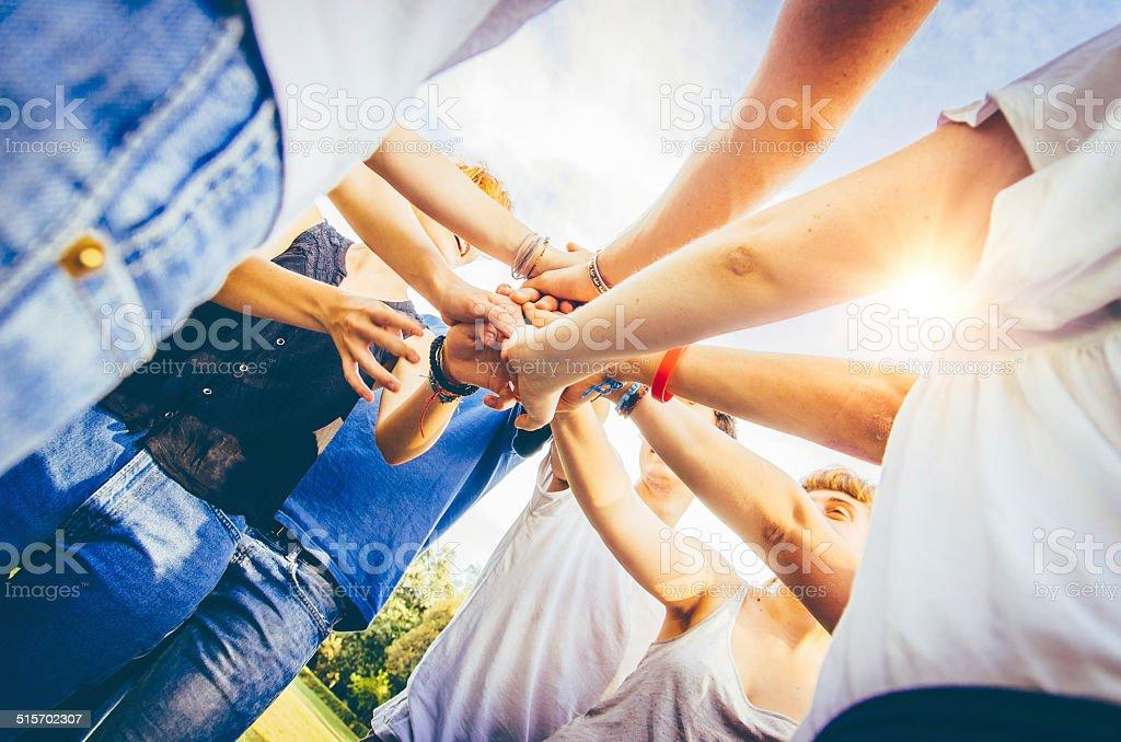 Gruppe von Freunden Teamarbeit Lizenzfreies stock-foto