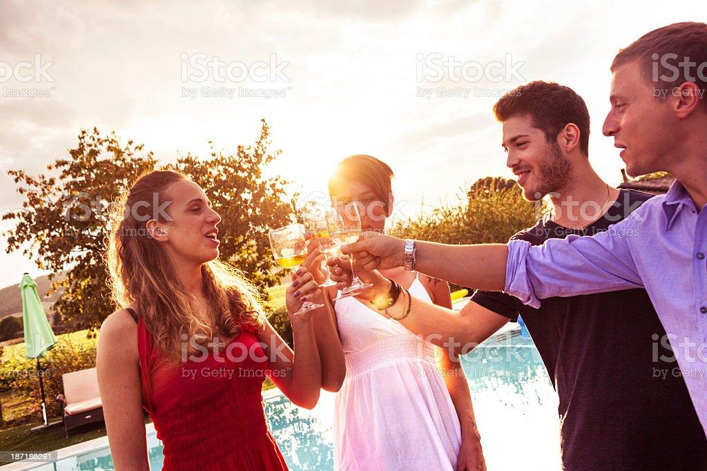 Grupo de amigos brindando à festa de aniversário - foto de acervo