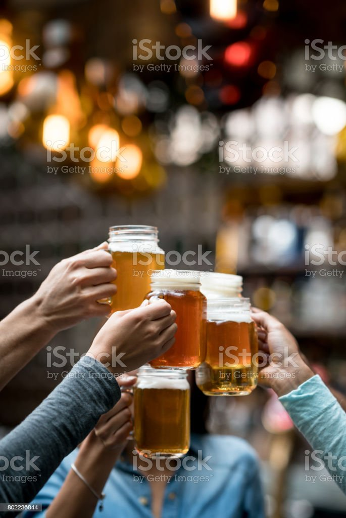 Group of friends toasting at the bar stock photo