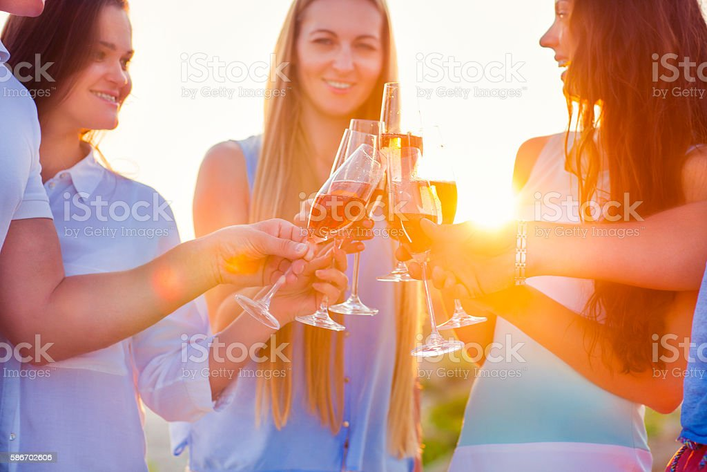 Group of friends toasting champagne sparkling wine at the beach stock photo